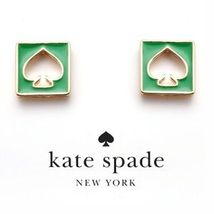 NWT Kate Spade Hole Punch Earring Studs Gold Green